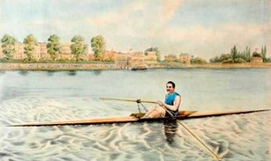 "A lithograph entitled ""Edward Hanlan of Toronto, Champion Sculler of the World"" published by George Rees in 1880."