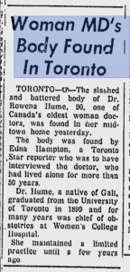 Dr Hume's murder as reported in the Montreal Gazette, October 1966.