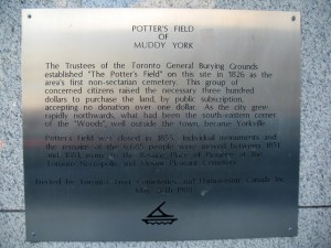 Plaque on the side of high-rise at Bloor and Yonge Street